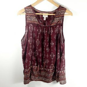 Knox Rose Burgundy Boho Loose Fit Tank